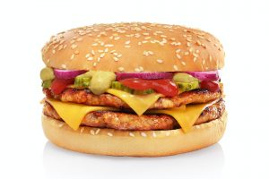 Double cheeseburger isolated on white